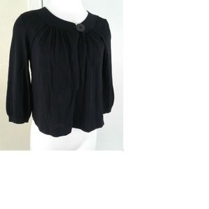 Ann Taylor Black Cropped Swing Open Top Sweater